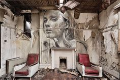 Street Artist Creates Crumbling Portraits on Abandoned Buildings to Reveal the Fragility of Beauty