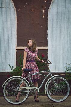 #floral dress #bike beach cruiser #heels