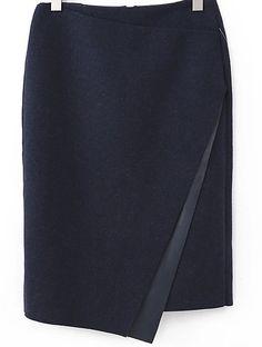 Navy Asymmetrical Bodycon Woolen Skirt - Sheinside.com