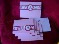 This is one of the projects we made at my Holiday Giftables Stamp Camp last week.  Four monogrammed notecards with coordinating envelopes all fit into the matching box.  My ladies had several color combinations to choose from.