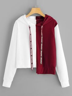 To find out about the Letter Print Tape Asymmetrical Hem Hoodie at SHEIN, part of our latest Sweatshirts ready to shop online today! Fall Fashion Trends, Autumn Fashion, Cool Outfits, Fashion Outfits, Womens Fashion, Cool Hoodies, Mode Hijab, Cosplay Outfits, Romwe