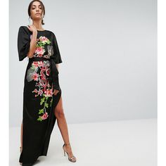ASOS TALL Embroidered Dragon Maxi Dress (£52) ❤ liked on Polyvore featuring dresses, multi, embroidered maxi dress, asos, flower embroidered dress, floral embroidery dress and round neck dress