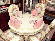 Hello, please come to my tea party. The party favors are pink chanel purses. No biggie. {all I can do is lol... don't think it will happen in my lifetime}