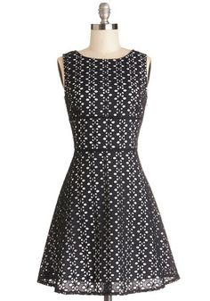 My Stars Dress by BB Dakota - Black, White, Eyelet, Casual, A-line, Sleeveless, Better, Scoop, Cotton, Woven, Mid-length