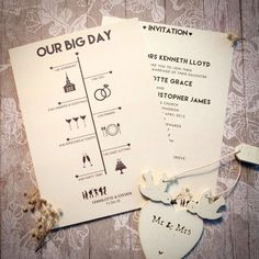 Timeline Day Invitationn. Bride & Groom have collections of bespoke, contemporary, vintage and traditional wedding invitations.