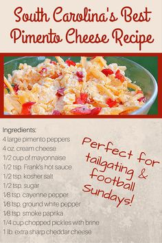 Perfect for #football season! The BEST Southern Pimento Cheese #recipe. #tailgating #superbowl #snacks #dip #southernfood #food