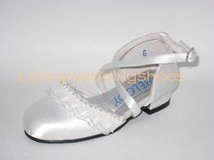 white satin flower girl shoes with beading