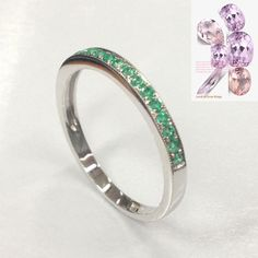 $325 Natural Emerald Wedding Band  For Women Half Eternity Anniversary Ring 14K White Gold