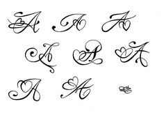 """A"" tattoo sketches....Would be cool to have since my last name is Allen!"