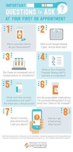 "Important Questions to Ask at Your First OB Appointment Now that you're pregnant, you probably have a million questions for your OB. Starting a list is a great way to make sure you remember your questions between appointments—especially when ""pregnancy brain"" kicks in! Remember, your OB is your partner on one of the most important journeys of your life—and you want to make sure you're on the same page about what's important to you. Be sure to ask about the Panorama prenatal screen at the…"