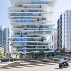Herzog & de Meuron uses staggered floors to create plant-covered terraces at Beirut tower Futuristic Architecture, Amazing Architecture, Contemporary Architecture, Architecture Design, Contemporary Building, Residential Architecture, Plan Maestro, Cabinet D Architecture, Tower House