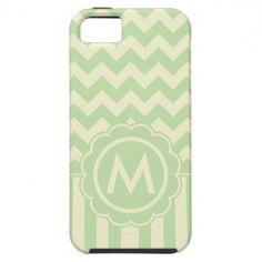 Green and Yellow Chevron Monogram iPhone 5 Covers