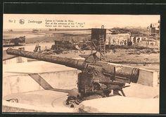 old postcard: AK Zeebrugge / Seebrügge, Kanone am Eingang der Mole