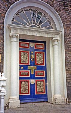 Door on Merrion Square in Dublin, Ireland.