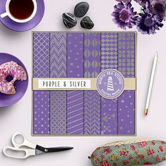 Silver Foil Paper -  http://etsy.me/1WVqLlI 12 silver foil digital paper with shiny metallic chevron, polkadots, quaterfoil, scallops, stars and purple backgrounds.