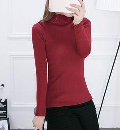 2016 Women Sweater Women fashion Slim Solid Autumn and Winter Knitted Warm Turtleneck Pullover Women Sweater