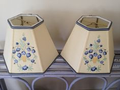 Forget Me Nots Lampshade, Lampshade from vintage tea towel, Soft yellow background blue, green and yellow embroidery, Small Lamp Shade by lampshadelady on Etsy