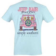Simply Southern Women's Jeep Hair Don't Care Bubbles - L ($20) ❤ liked on Polyvore featuring tops, mult, blue top and bubble top