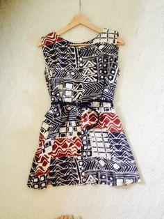 Vintage Festival Retro Mini Summer Dress Aztec Print M 10