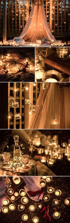 Romantic beyond compare, we can't help but swoon over this engagement session from Kunioo that features so many magical details! The idea of lighting the entire photo session with candles in a beautiful outdoor setting at night decorated with silk and drapes is nothing short of incredible.