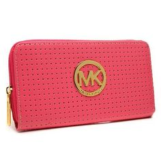 Michael Kors Perforated Logo Large Pink Wallets