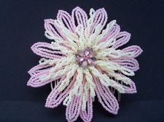Handmade French Beaded Flower Hair Accessory by SparklingGarden