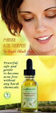 Adult Acne Treatment - Fast acting, this natural acne treatment goes deep down to the source of bacteria. Calms your skin reduces redness, inflammation and speeds the process. Naturally, gently and effectively eliminates bacteria and balance your skin. https://justnutritive.com/manuka-clear-treatment/