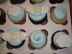 Baby shower angel cupcakes