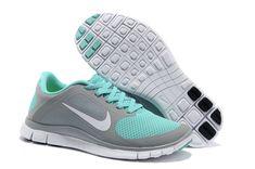 Womens Dark Grey Jade Nike Free 4.0 V3 Running Shoes. (( I want these so bad ))
