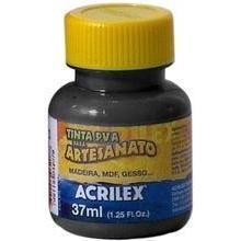 Tinta Plástica 37 Ml Para Artesanato Acrilex - Preta