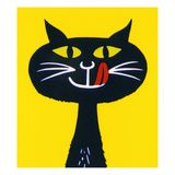 Black Cat Licking Lips Posters by  Pop Ink - CSA Images
