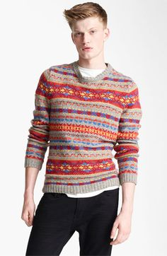 Topman Fair Isle Crewneck Sweater with Elbow Patches available at #Nordstrom