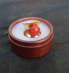 Red Coral 18K Gold Modern Ring by gypsytejas on Etsy