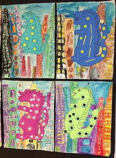 Apex Elementary Art...A fun way to enhance the cityscape project and introduce or reinforce emphasis,repetition, balance, etc.