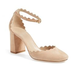 Women's Chloe Scalloped Ankle Strap D'Orsay Pump (910 AUD) ❤ liked on Polyvore featuring shoes, pumps, beige suede, beige shoes, chunky heel pumps, chunky heel shoes, thick heel pumps and d orsay pumps