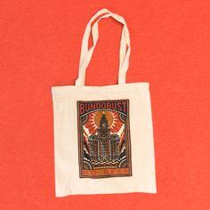 Screenprinted Tote Bags for Bundobust by Awesome Merchandise Custom Screen Printing, Band Merch, Printed Tote Bags, Custom Bags, Ink Color, Heat Transfer Vinyl, Kid Names, Totes, Cool Designs