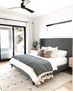 A modern take on traditional this eye-catching grey tufted headboard is the star of the show Make sure to balance out any dominating features of a bedroom with your bedding choices IG price landing Small Room Bedroom, White Bedroom, Bedroom Colors, Home Decor Bedroom, Bedroom Furniture, Bedroom Ideas, Bedroom Brown, Budget Bedroom, Quirky Bedroom