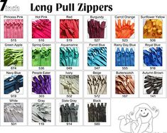 10 #4.5 YKK® 12 purse zippers with a long handbag pull. Choose any 10 zippers from the color chart provided. 12 Color choices-   Princess Pink - 515  Hot