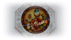 Relógio de parede em mdf - pátina provençal, carimbos e decoupage