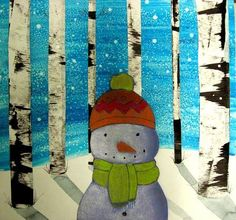 MaryMaking: Snowmen Collages by Patricia Parcks Art Lessons For Kids, Art Lessons Elementary, Art For Kids, Winter Art Projects, School Art Projects, Winter Project, January Art, December 2013, Pam Pam