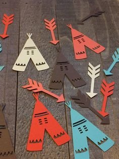 Brown Cream Coral Teal Teepee and Arrow Table Confetti Decor Decoration Centerpiece Tribal Native American Themed Birthday Party Indian Party Themes, Indian Birthday Parties, Wild One Birthday Party, Baby Shower Tribal, American Themed Party, Pow Wow Party, Native American Baby, Tinkerbell Party, Tangled Party