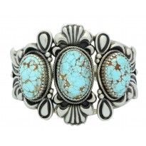 Stacey Gishal, Bracelet, Number Eight Turquoise, Silver, Navajo Handmade, 6.5 in