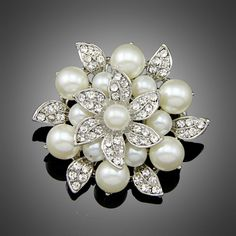 Exquisite Imitation Cream Pearl Flower Pin Brooch Diamante Rhinestone Wedding Brooch Pins Gold Plated Elegant Women Broach-in Brooches from Jewelry & Accessories on Aliexpress.com | Alibaba Group