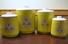 Retro Metal Kitchen Canisters Yellow with White by PanchosPorch, $29.75