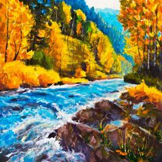 Blue river original oil painting on canvas for sale by artist Valery Rybakow Painting Techniques Art, Oil Painting Lessons, Oil Painting Supplies, Oil Painting For Sale, Autumn Painting, Oil Painting Flowers, Online Painting, Oil Painting On Canvas, Painting Portraits