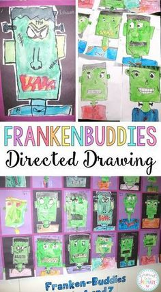 Complete this Frankenstein Frankenbuddies directed drawing lesson with your class at school and create the perfect bulletin board display for Halloween. This makes a great Halloween activity for kids! YOU will love the BOO-TIFUL results! Halloween Art Projects, Theme Halloween, Halloween Activities For Kids, Art Activities For Kids, Autumn Activities, Halloween Witches, Group Activities, Therapy Activities, Halloween Halloween