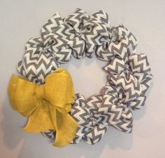 Chevron Burlap Wreath 20-22 inch for front door or accent - Yellow, White, Grey - Spring, Summer, Easter