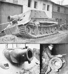Various photos of a captured Sturmtiger