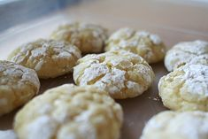 Gooey Butter Cookies (recipe by Mathew Rice of Nightwood Restaurant) Recipe Desserts, Afternoon Tea with all-purpose flour, baking powder, salt, cream cheese, unsalted butter, vanilla beans, sugar, eggs, vanilla extract, confectioners sugar