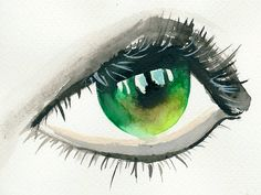 green eye, watercolours